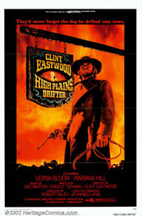 "High Plains Drifter (Universal, 1973). One Sheet (27"" X 41""). The dark, moody, graphics of this poster reflect..."