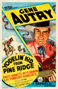 "Movie Posters:Western, Yodeling Kid from Pine Ridge (Republic, 1937). One Sheet (27"" X41""). Gene Autry finds out that someone has stolen cattle fr..."