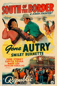 """South of the Border (Republic, 1939). One Sheet (27"""" X 41""""). Gene Autry goes down South to prevent a Mexican r..."""