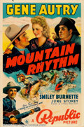"""Movie Posters:Western, Mountain Rhythm (Republic, 1939). One Sheet (27"""" X 41""""). GeneAutry's out to help the ranchers save their land from the bad ..."""