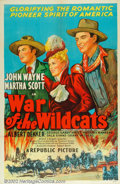 "Movie Posters:Western, War Of The Wildcats (Republic, 1943). One Sheet (27"" X 41""). Stonelithograph early re-release one sheet for the John Wayne ..."