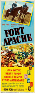 "Movie Posters:Western, Fort Apache (RKO, 1948). Insert (14"" X 36""). The first of the JohnFord cavalry trilogy stars John Wayne and Henry Fonda. Th..."