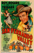 "Movie Posters:Western, San Fernando Valley (Republic, 1944). One Sheet (27"" X 41""). RoyRogers and Dale Evans star in this western which was co-dir..."