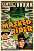 "Movie Posters:Western, Masked Rider, The (Universal, 1941). One Sheet (27""X 41""). JohnnyMack Brown, a former football star turned cowboy movie act..."