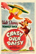 "Movie Posters:Animated, Crazy Over Daisy (RKO 1950). One Sheet (27"" X 41""). Donald Duck ,in the 1890's, is going to see Daisy, and Chip 'n' Dale ma..."