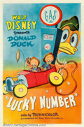 "Movie Posters:Animated, Lucky Number (RKO, 1951). One Sheet (27"" X 41""). It's a battle ofwits between gas station owner, Donald Duck, and his three..."