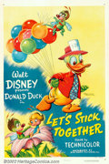 "Movie Posters:Animated, Let's Stick Together (RKO, 1952). One Sheet (27"" X 41""). Thiscartoon chronicles an elderly Donald Duck's long friendship wi..."