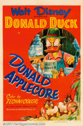 "Movie Posters:Animated, Donald Applecore (RKO, 1952). One Sheet (27"" X 41""). This classicDonald Duck cartoon had Donald the farmer doing battle wit..."