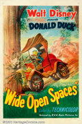 "Movie Posters:Animated, Wide Open Spaces (RKO, 1947). One Sheet (27"" X 41""). Funny anticsof Donald Duck feeling forced to stay out in the woodlands..."