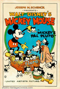 "Movie Posters:Animated, Mickey's Pal Pluto (United Artists, 1933) One Sheet (27"" X 41""). The United Artist Mickey Mouse posters are the most collect..."