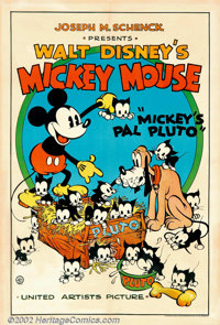 "Mickey's Pal Pluto (United Artists, 1933) One Sheet (27"" X 41""). The United Artist Mickey Mouse posters are th..."