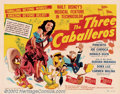 "Movie Posters:Animated, Three Caballeros (RKO, 1944). Half Sheet (22"" X 28""). Fun,brilliantly animated feature starring Donald Duck, Jose Carioca,..."