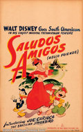 "Movie Posters:Animated, Saludos Amigos (RKO, 1943). Window Card (14"" X 22""). Beginninglive-action segments in this film show Disney animators sket..."