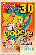 "Movie Posters:Animated, Popeye in ""The Ace of Space"" (Paramount, 1953). One Sheet (27"" X41""). Popeye is abducted by Martians who try to conduct all..."