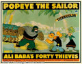 "Movie Posters:Animated, Popeye the Sailor Meets Ali Baba's Forty Thieves (Paramount, 1937).Half Sheet (22"" X 28""). Fleischer Studios outdid themsel..."