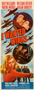 "Movie Posters:War, I Wanted Wings (Paramount, 1941). Insert (14"" X 36""). Paramount'sstar-making vehicle for the young ingenue, Veronica Lake. ..."