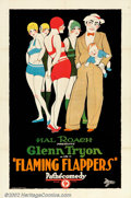 "Movie Posters:Comedy, Flaming Flappers (Pathe', 1925). One Sheet (27"" X 41""). CuteRoaring '20s stone lithograph to a Glenn Tryon short film produ..."