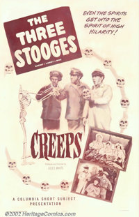 "Creeps (Columbia, 1956). One Sheet (27"" X 41""). The Stooges, Larry, Curly, and Shemp are movers for an express..."
