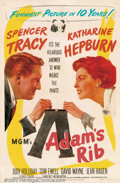 "Movie Posters:Comedy, Adam's Rib (MGM, 1949). One Sheet (27"" X 41""). George Cukordirected Spencer Tracy and Katharine Hepburn in this terrificall..."