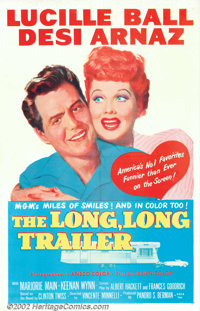 "Long Long Trailer, The (MGM, 1954). One Sheet (27"" X 41""). Lucy and Desi's first film as a leading comic pair..."