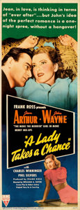 "Movie Posters:Comedy, A Lady Takes A Chance (RKO, 1943). Insert (14"" X 36""). John Wayneteams up with comedic talent Jean Arthur in a light-hearte..."