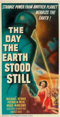 "Movie Posters:Science Fiction, Day the Earth Stood Still (20th Century Fox, 1951). Three Sheet (41"" X 81""). This exciting poster style is different from th..."