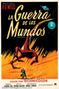 "Movie Posters:Science Fiction, War of the Worlds (Paramount, 1953). Argentina One Sheet (27"" X 41""). Residents of a small town are intrigued when a meteor ..."