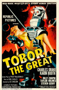 "Movie Posters:Science Fiction, Tobor the Great (Republic, 1954). One Sheet (27"" X 41""). This poster is one of the three great ""robot carrying a woman"" post..."