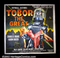 "Movie Posters:Science Fiction, Tobor the Great (Republic 1954). Six Sheet (81"" X 81""). This was Republic Studio's early attempt at science-fiction in a sto..."