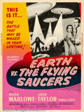 """Movie Posters:Science Fiction, Earth vs. the Flying Saucers (Columbia, 1956). (30"""" X 40""""). Invaders from outer space request that Earthlings surrender peac..."""
