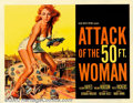 "Movie Posters:Science Fiction, Attack of the 50ft. Woman (Allied Artists, 1958). Half Sheet (22"" X 28""). Allison Hayes, our heroine, is kidnapped by a bald..."