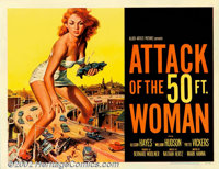 "Attack of the 50ft. Woman (Allied Artists, 1958). Half Sheet (22"" X 28""). Allison Hayes, our heroine, is kidna..."