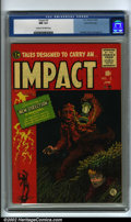 Golden Age (1938-1955):Adventure, Impact #2 Gaines File pedigree 3/12 (EC, 1955) CGC NM 9.4 Cream to off-white pages. This is the first issue of this title to...