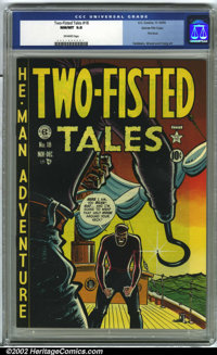 Two-Fisted Tales #18 Gaines File pedigree 6/7 (EC, 1950) CGC NM 9.8 Off-white pages. This is the first issue of Two-Fist...