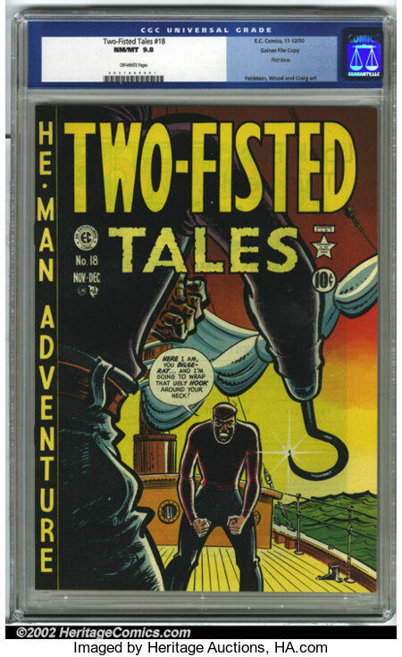 Two-Fisted Tales #18 Gaines File pedigree 6/7 (EC, 1950) CGC NM 9.8 Off-white pages. This is the first issue of Two-Fisted...