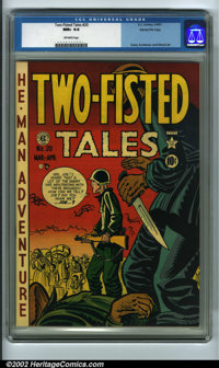 Two-Fisted Tales #20 Gaines File pedigree 6/9 (EC, 1951) CGC NM+ 9.6 Off-white pages. This is one of the rarer Gaines Fi...