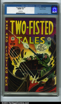 Two-Fisted Tales #27 Gaines File pedigree 7/10 (EC, 1952) CGC NM/MT 9.8 Off-white pages. How is this copy perfect? Let m...