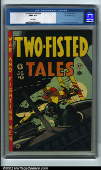 Two-Fisted Tales #34 Gaines File pedigree 8/11 (EC, 1953) CGC NM+ 9.6 White pages. This issue has a classic World War On...
