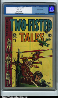 Two-Fisted Tales #40 Gaines File pedigree 9/12 (EC, 1955) CGC NM+ 9.6 Off-white to white pages. Featuring a great aviati...