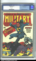Golden Age (1938-1955):War, Military Comics #20 San Francisco pedigree (Quality, 1943) CGC NM9.4 White pages. Not only is this a classic Nazi war cover...