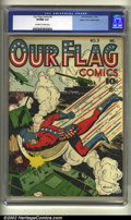 Golden Age (1938-1955):Superhero, Our Flag Comics #3 Mile High pedigree (Ace, 1941) CGC VF/NM 9.0 Off-white to white pages. The Flag didn't have a long run in...