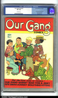 Golden Age (1938-1955):Humor, Our Gang #1 (Dell, 1942) CGC VF+ Off-white pages. A great issue, featuring the first appearances of Tom and Jerry, Our Gang,...
