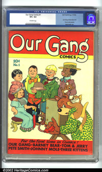 Our Gang #1 (Dell, 1942) CGC VF+ Off-white pages. A great issue, featuring the first appearances of Tom and Jerry, Our G...