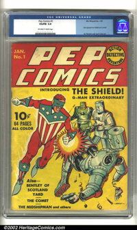 Pep #1 (MLJ, 1940) CGC VG/F 5.0 Off-white to white pages. Introducing the era of Patriotic heroes! Within these red, whi...