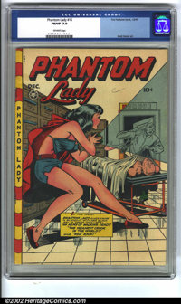 Phantom Lady #15 (Fox, 1947) CGC FN/VF 7.0 Off-white pages. Matt Baker created another headlight masterpiece with this c...