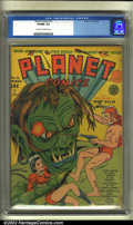 Golden Age (1938-1955):Science Fiction, Planet Comics #11 (Fiction House, 1941) CGC VF/NM 9.0 Cream tooff-white pages. This ground-breaking title is always in high...