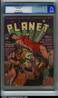 Golden Age (1938-1955):Science Fiction, Planet Comics #18 (Fiction House, 1942) CGC VF- 7.5 Cream tooff-white pages. Presented here is an incredible bondage cover ...