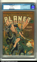 Golden Age (1938-1955):Science Fiction, Planet Comics #21 (Fiction House, 1942) CGC VF- 7.5 Cream tooff-white pages. Another great Zolnerowich cover, this issue fe...
