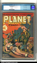 Golden Age (1938-1955):Science Fiction, Planet Comics #26 (Fiction House) CGC VF- 7.5 Off-white pages. Thiscover has it all! Beautiful babes in bondage, evil-looki...