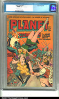 Golden Age (1938-1955):Science Fiction, Planet Comics #32 (Fiction House, 1944) CGC VF/NM 9.0 Off-white towhite pages. Our hero Hunt Bowman plays tug-of-war with t...